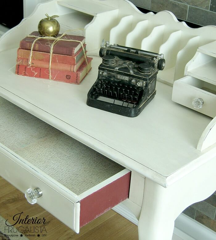 French Provincial Secretary Desk Makeover Script Lined Drawers