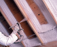 spray foam insulation being installed