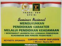 Seminar Mengukuhkan Pendidikan Karakter Melalui Pendidikan Keagamaan, 15 September 2017