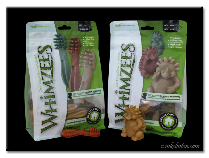 Two packages of Whimzees dental chews for dogs
