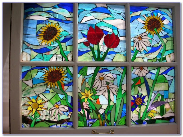 Custom made Stained GLASS WINDOW Panels