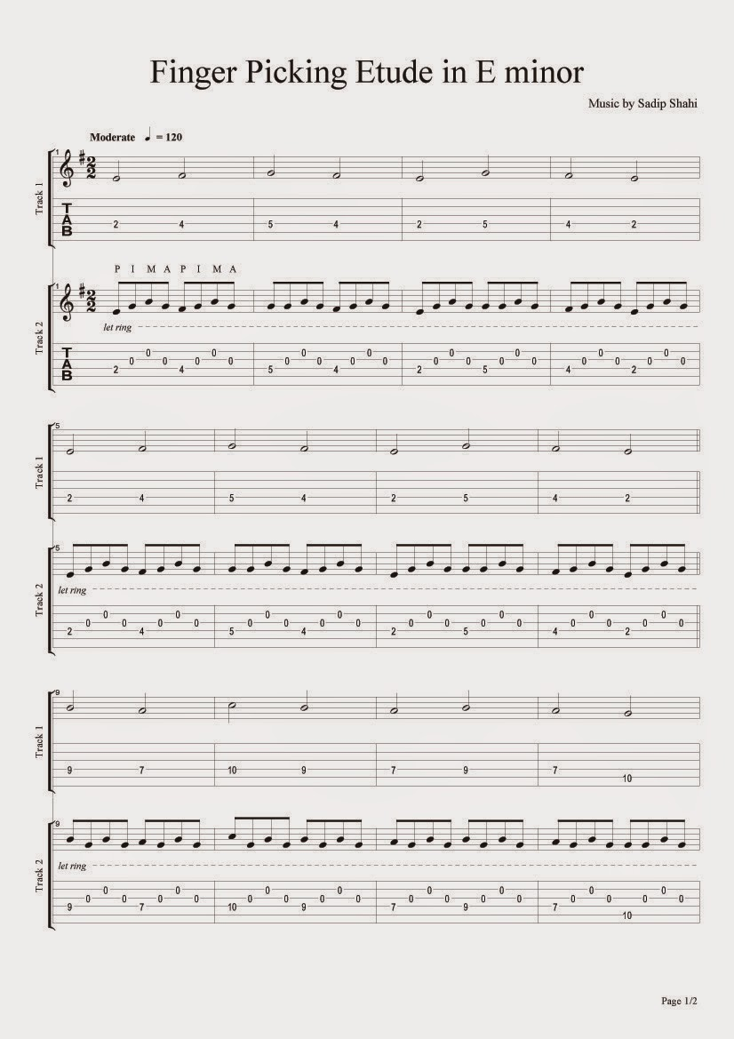 tubescore: Finger Picking Guitar Tecnique Tablature Sheets