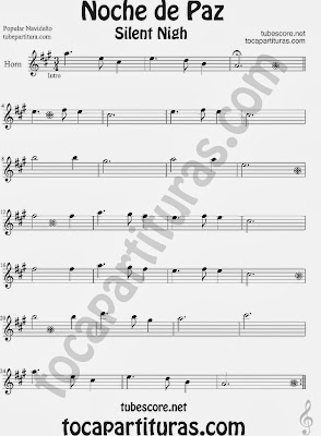 Partitura de NOCHE DE PAZ para Trompa y Corno en Mi bemol Villancico Christmas Song SILENT NIGH Sheet Music for Horn and French Horn Music Scores (mirar vídeo tutorial saxo alto)