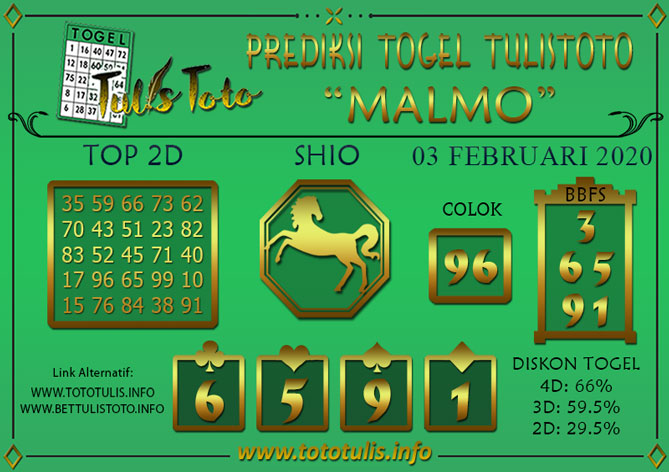 Prediksi Togel MALMO TULISTOTO 03 FEBRUARI 2020