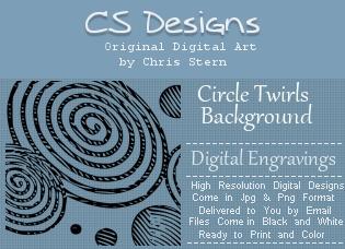 Circle Twirl Digital Engravings Background Digital Stamp