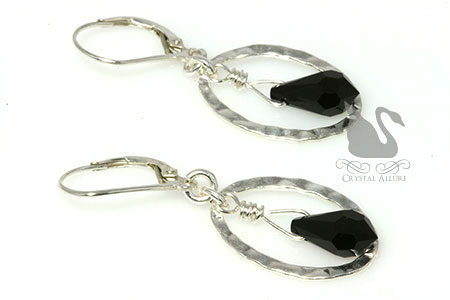 Holiday Sparkle Black Crystal Drop Hoop Earrings (EC292-B)