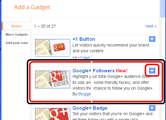 Add Google+ Gadget