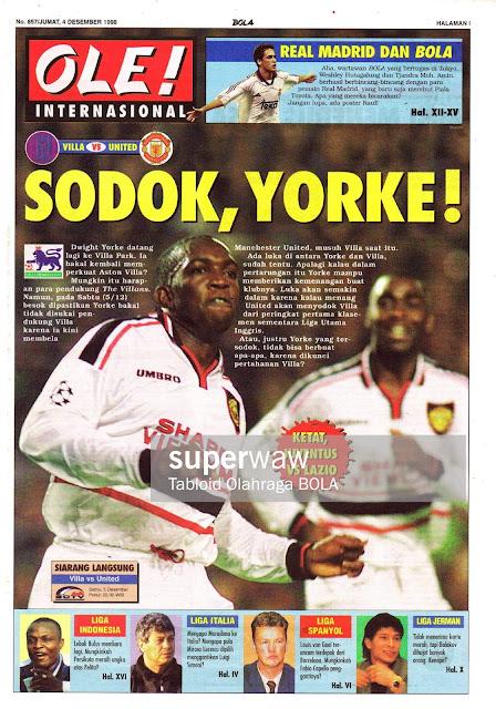 FA PREMIER LEAGUE 1998 VILLA VS MANCHESTER UNITED DWIGHT YORKE