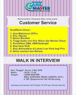 Lowongan Kerja Game Master Bandung Terupdate 2019