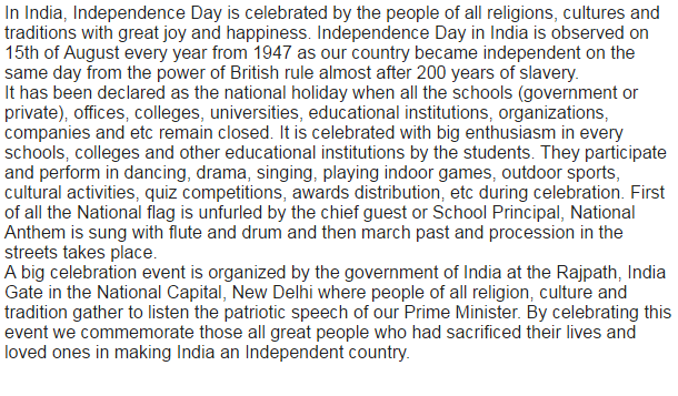 independence day celebration in our school essay