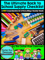 This checklist is a must have for new teachers as well as experienced teachers. It includes over 200 school supplies , as well as tips for organizing, storage, and management of communal/community supplies.
