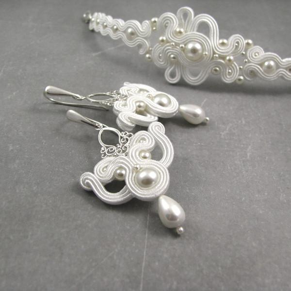 Romantyczne kolczyki ślubne sutasz z perłami