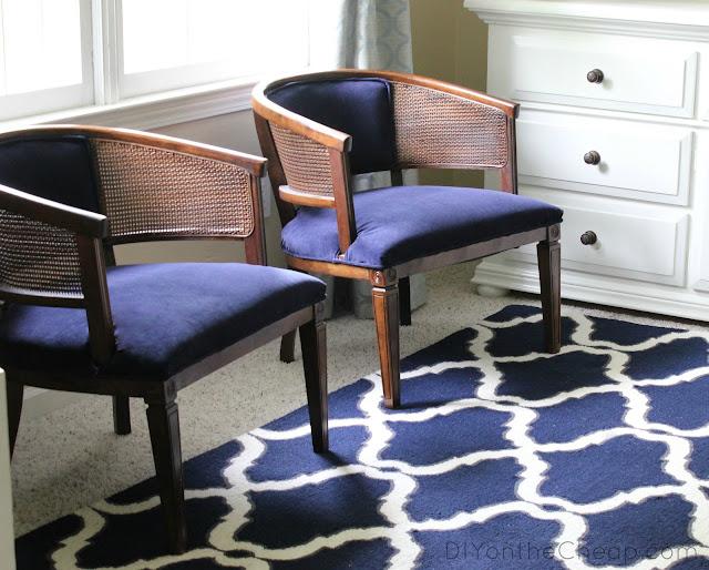 Navy Velvet Upholstered Cane Barrel Chairs