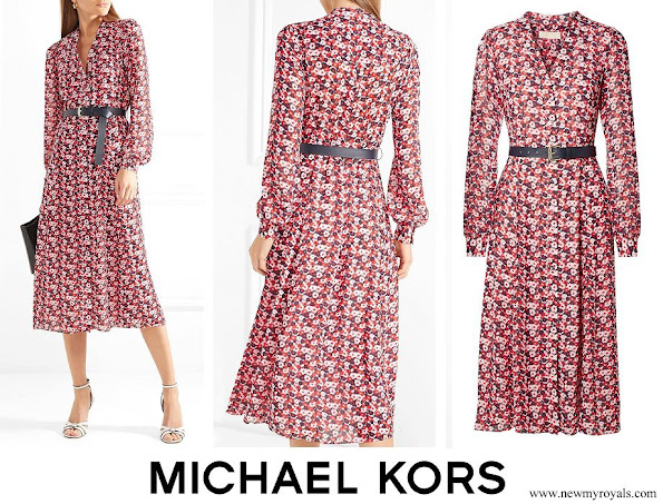 Kate Middleton wore MICHAEL Michael Kors Belted floral print crepe midi dress