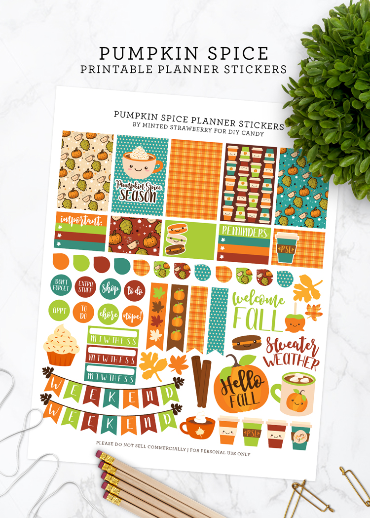 pumpkin spice planner printable stickers
