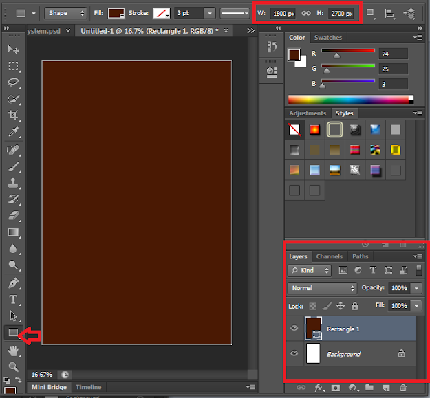 Screenshot: Draw your rectangle to cover the book canvas
