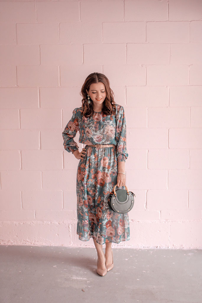Green Floral Shein ZARA dress and Green Chloe Pixie Bag dupe