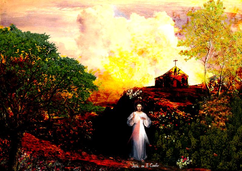 divina misericordia jesus en ti confio en paisaje con iglesia