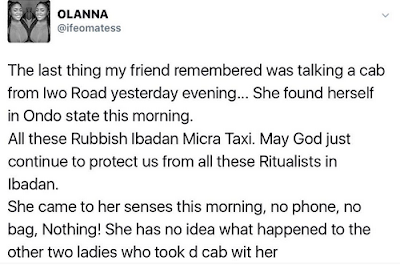 Lady Boards A Taxi In Ibadan, Finds Herself In Ondo State