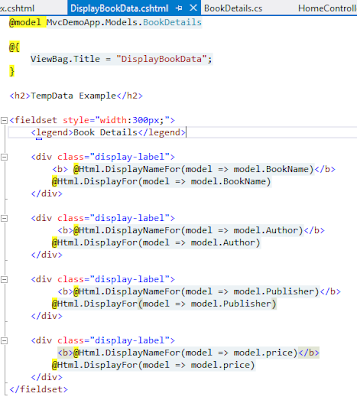 TempData view example to pass data