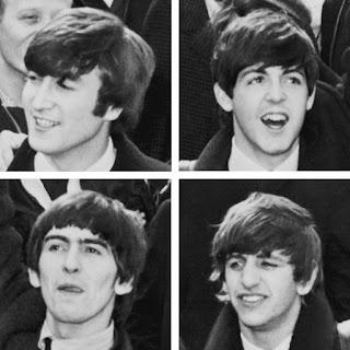Imagen con 4 fotografías de los 4 componentes de los Beatles: John Lennon, Ringo Starr, Paul McCarney y George