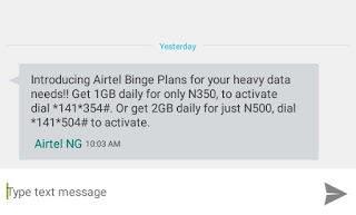 Airtel Binge Data Plan | 2GB for N500 and 1GB for N350