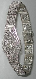 Sterling silver Art Deco filigree bracelet by JH Peckham.