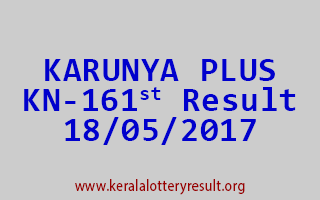 KARUNYA PLUS Lottery KN 161 Results 18-5-2017