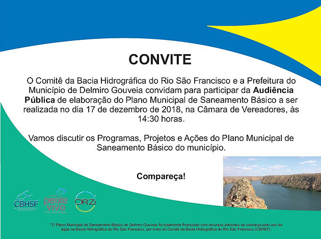 Participe da Audiência Pública do Plano Municipal de Saneamento Básico de Delmiro Gouveia