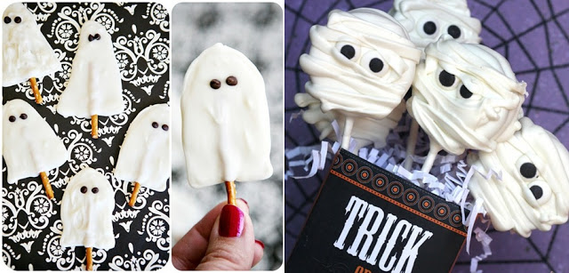 Find 18 creative Halloween food ideas for party and table decoration. Adorable chocolate ghosts and cookies.  Quick and tasty Halloween treats for kids. Creative Halloween DIY Dessert Ideas. Fun Halloween Food ideas. Easy Halloween treats for kids. Quick Halloween treats for school parties. Halloween tricks and treats food ideas. Halloween dessert ideas.