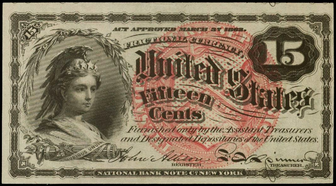 Fractional Currency 15 Cents 1863 Fourth Issue, Columbia ...
