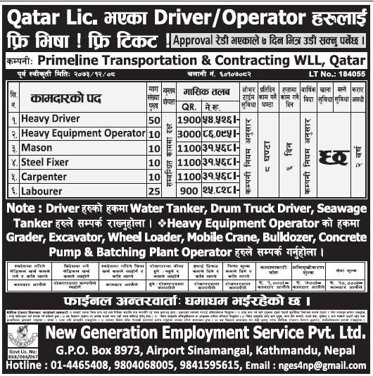 Free Visa Free Ticket Jobs in Qatar for Nepali, Salary Rs 86,095