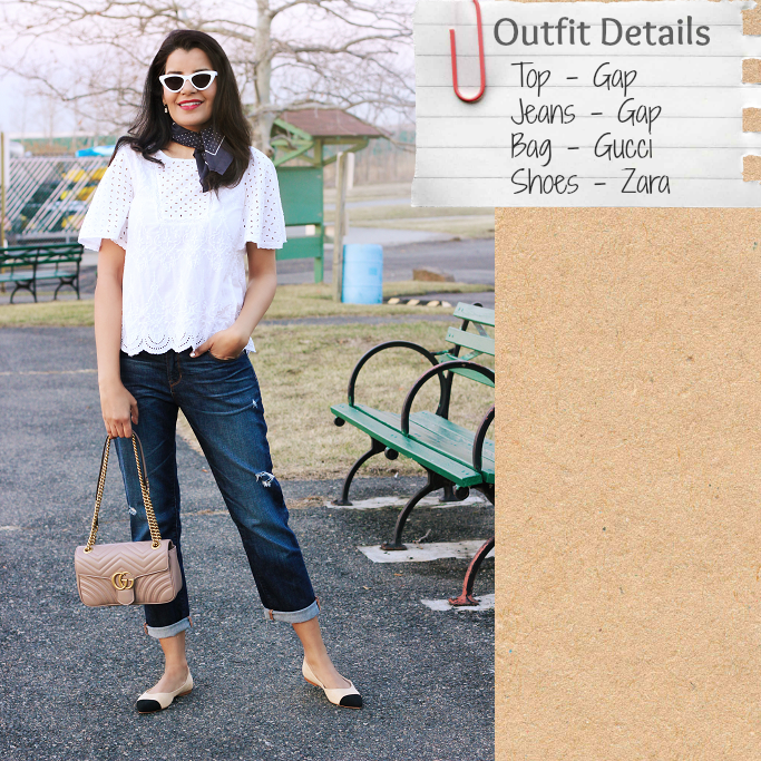 Gap White Eyelet Top, Zara Cap Toe Flats, Zara Two Tone Ballerina flats, Gucci Marmont Soft Rose Small Flap Bag, Cap Toe Flats, Nud cap toe flats, Chanel cap toe flats lookalike. Chanel cap toe flats dupe, Chanel flats look for less, narrow cat eye glasses