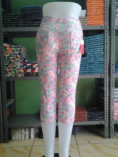 Legging denim spandek 78 motif Bunga
