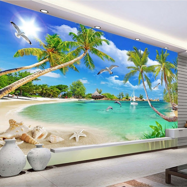 Beach Ocean Wall Murals Landscape Tropical Wallpaper Bedroom Livingroom Tree Waves Tropical Ocean