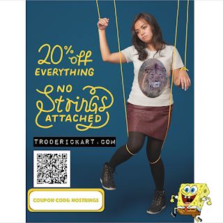No Strings Attached promo for 20% off everything at troderickart.com