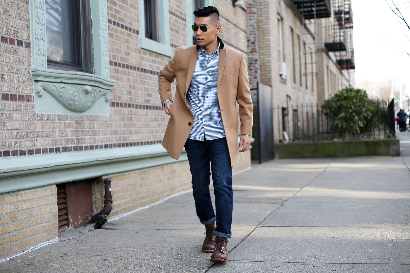 Slate Denim with Tallia Orange Coat, Red Wing, Menswear Outfit