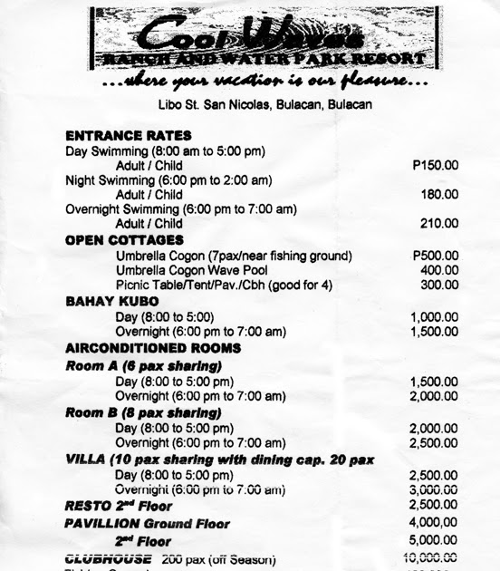 Cool Waves Ranch and Waterpark Resort Entrance Rates