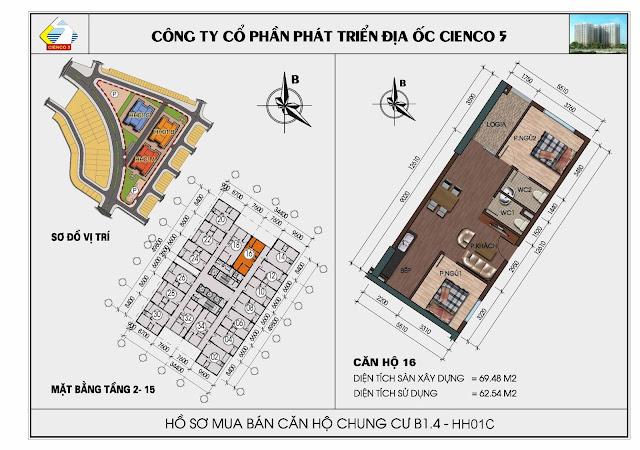 Sơ đồ căn hộ 16 chung cư Thanh Hà Cienco 5 tòa HH01C căn 16