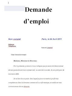 demande d'emploi - exemple de modèle de lettre de motivation et recrutement word pdf