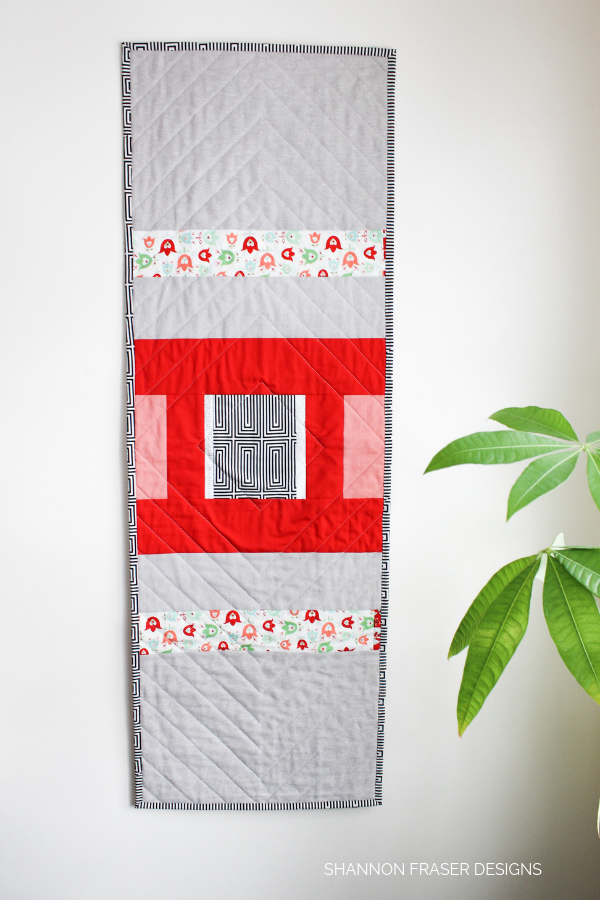 Back of the Holiday Modern Aztec Quilted Table Runner | Shannon Fraser Designs
