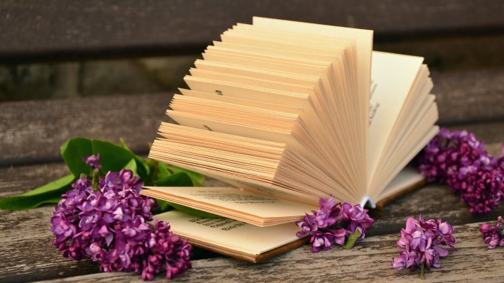 Wallpaper 2: Lilac Flowers and a Good Book