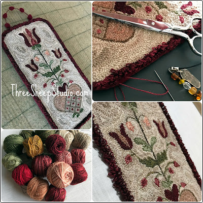 'Bee Thee Mine' punch needle - a 1776 Fraktur adaptation by Rose Clay at ThreeSheepStudio.com