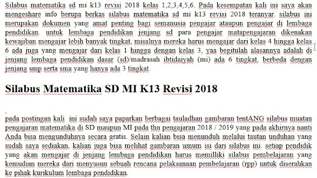Silabus Matematika SD MI K13 Revisi 2018