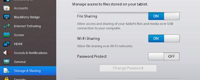 Aveces es necesario transferir los archivos a tu PlayBook, y conectarlo vía USB es rápido y fácil , Pero puede que no tengas un USB y necesites otra opción. Si quieres una forma fácil de hacerlo el intercambio de archivo vía Wi-Fi te ayudara. para que no tengas que conectar tu PlayBook a cualquier ordenador, solo debes seguir estos pasos: En tu PlayBook, ve a Configuración> Almacenamiento y uso compartido. Activa el interruptor de compartir vía Wi-Fi. Para establecer una contraseña para proteger tus archivos, toca en contraseña. Vuelve a Configuración En la lista desplegable, toca en la opción de