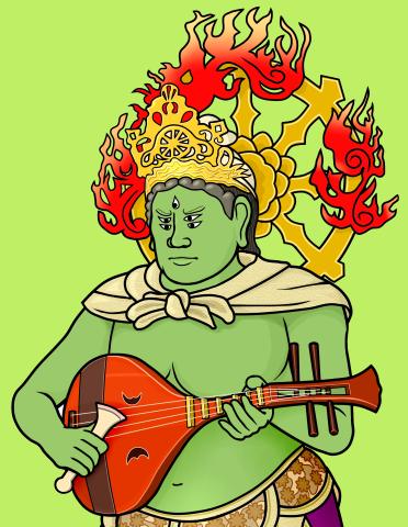 摩睺羅伽(まごらが)と琵琶