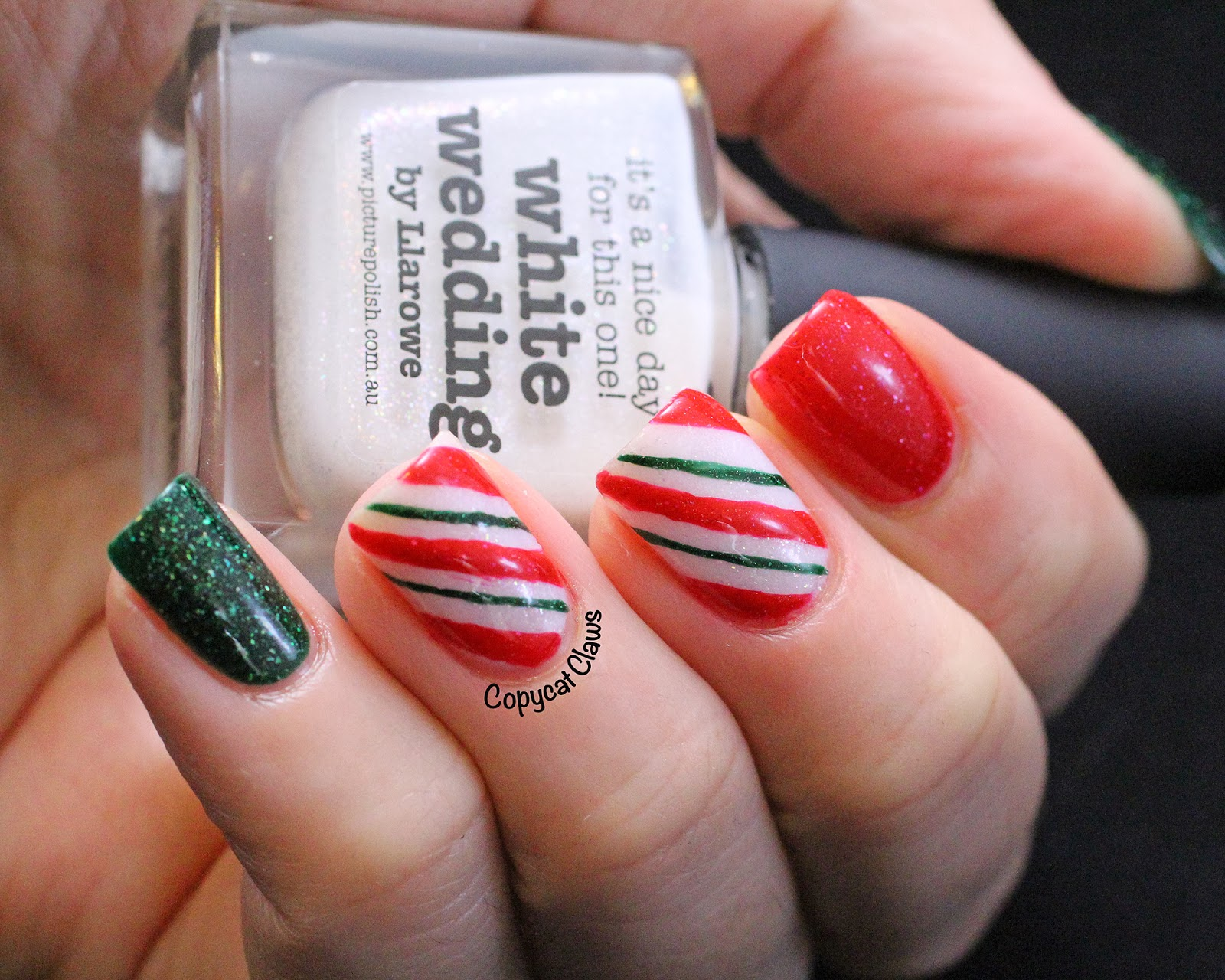 Copycat Claws Picture Polish Candy Cane Nail Art