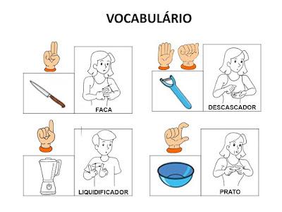 sinais de vocabulário de receitas