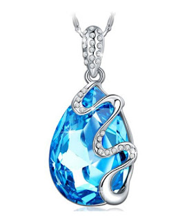Pauline Morgen Venice Dream Blue SWAROVSKI ELEMENTS Crystal White Gold Plated Women Necklace