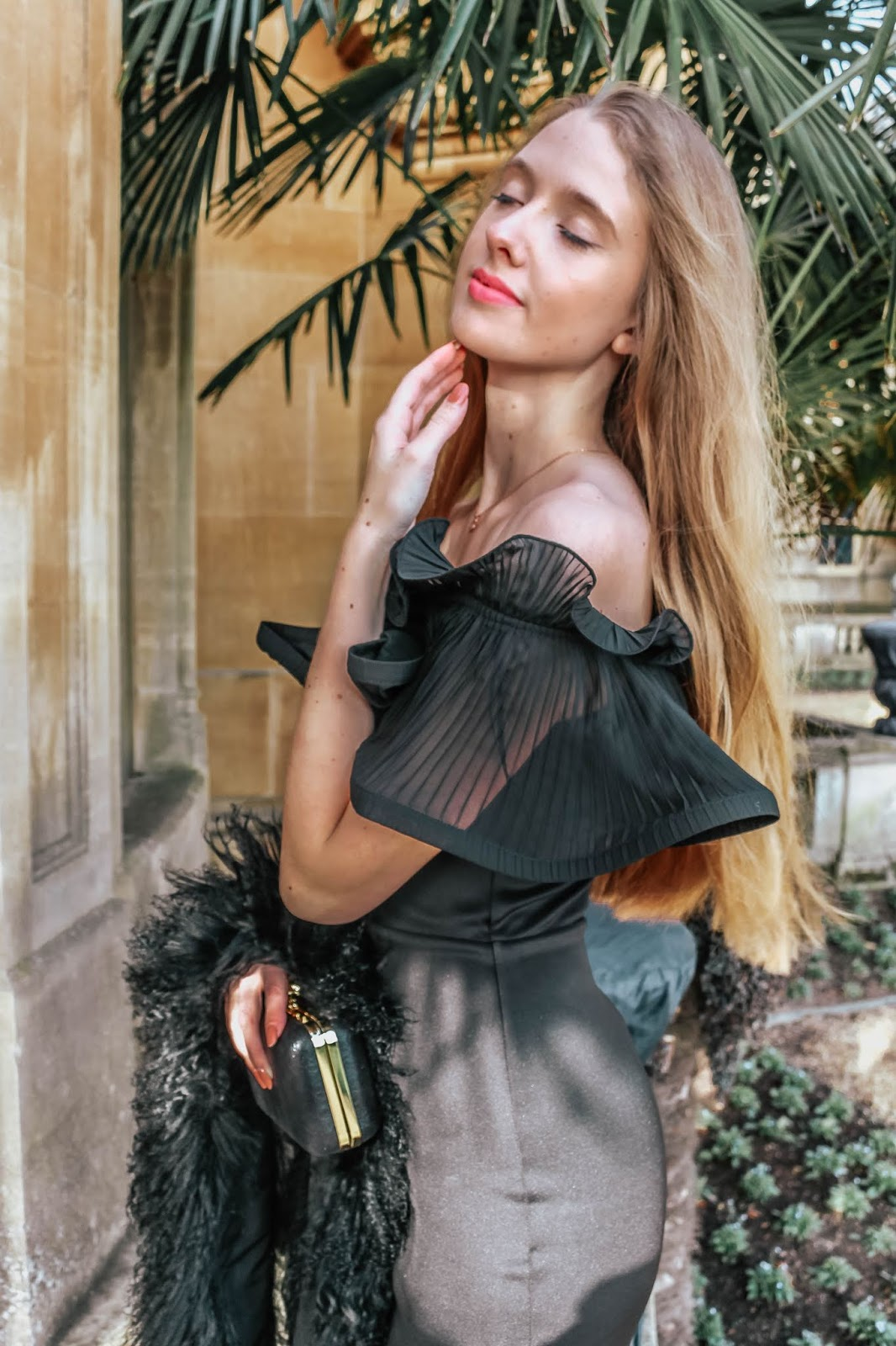 Lips Ruffle Bardot Black Dress Fashion Blogger